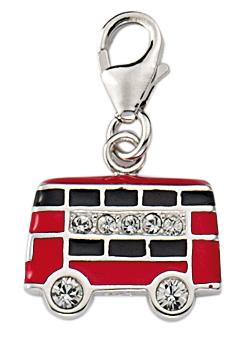 Bus Charms Anhänger aus Silber 925/rh mit Zirk./Email