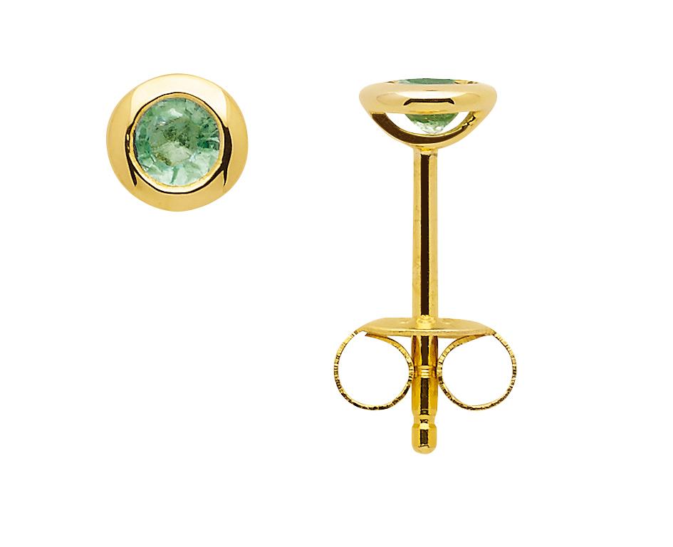 Zarge Ohrstecker aus Gold mit Smaragd