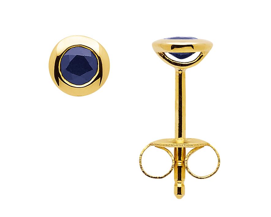 Zarge Ohrstecker aus Gold mit Safir
