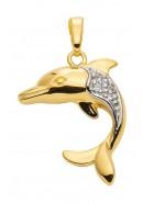 Delfin Kettenanhänger aus Gold mit Zirkonia