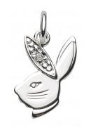Hasenkopf Kettenanhänger aus Silber mit Zirkonia