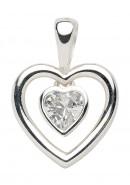 Herz Kettenanhänger aus Silber mit Zirkonia
