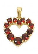 Herz Anhänger aus Gold mit Granat