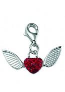 Herz Charms Anhänger aus Silber 925/rh mit Glasstein