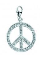 Peace-Zeichen Charms Anhänger aus Silber 925/rh mit Zirkonia