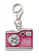 Fotoapparat Charms Anhänger aus Silber 925/rh mit Zirk./Email