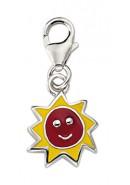 Sonne Charms Anhänger aus Silber 925/rh mit Email