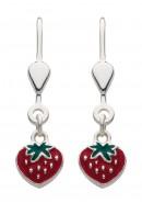 Erdbeere Ohrhänger mit Brisur aus Silber